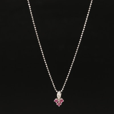 18K Ruby and Diamond Pendant on 14K Bead Chain Necklace
