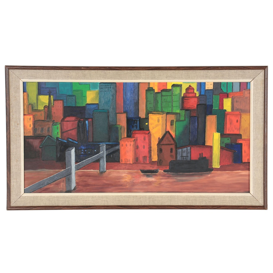 Acrylic Painting of Buildings, Late 20th Century