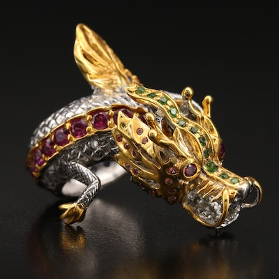 Sterling Garnet, Diopside and Tanzanite Dragon Bypass Ring