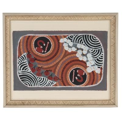 Aboriginal Imanpa Community Gouache Painting
