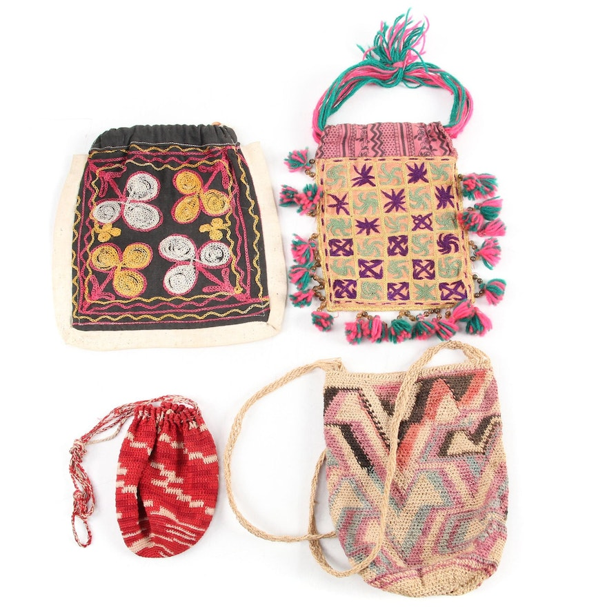 Central Asian Embroidered Bags and Handmade Crocheted Bags