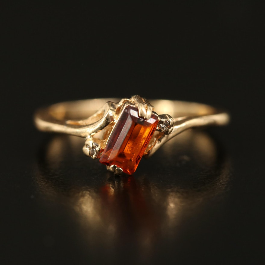 14K Citrine and Diamond Bypass Ring