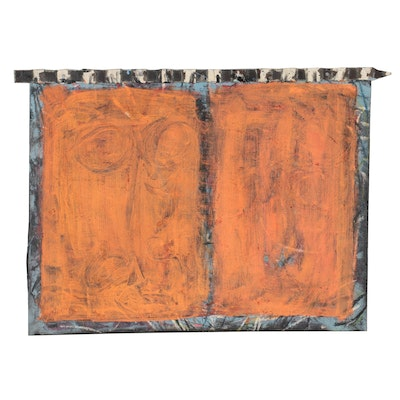 """Suzanna Terrill Mixed Media Painting """"Untitled,"""" Late 20th Century"""