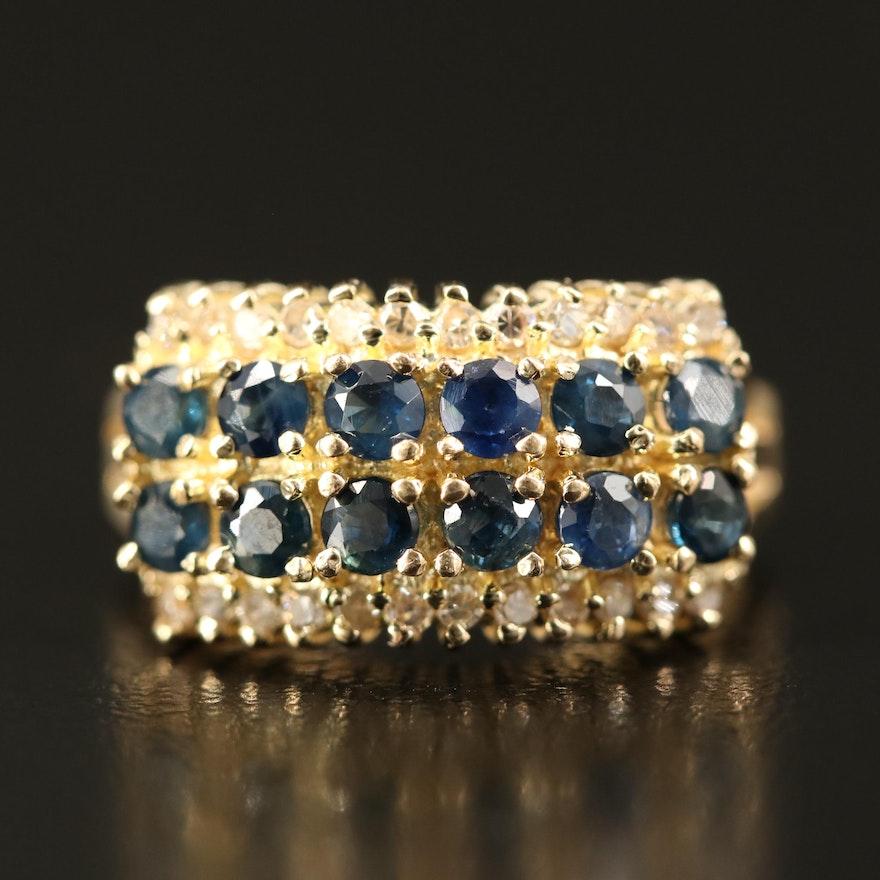 14K Sapphire and Diamond Multi-Row Ring
