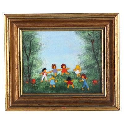 Viven Kelly Enamel Painting of Children Dancing