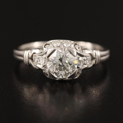 Antique Neoclassical Platinum 1.05 CTW Diamond Ring