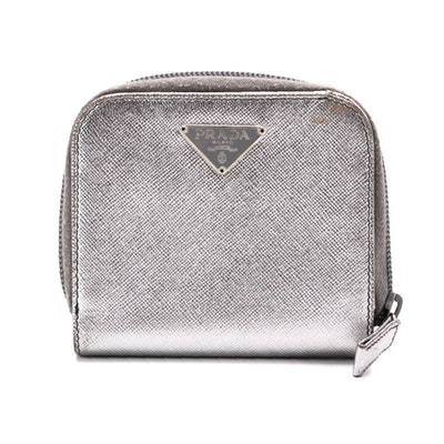 Prada Zip Around Compact Wallet in Silver Metallic Saffiano Leather
