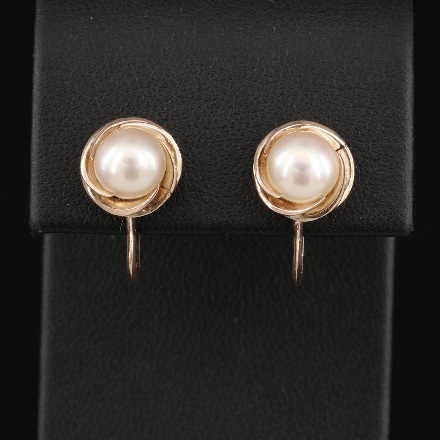 10K Pearl Earrings with Swirl Design