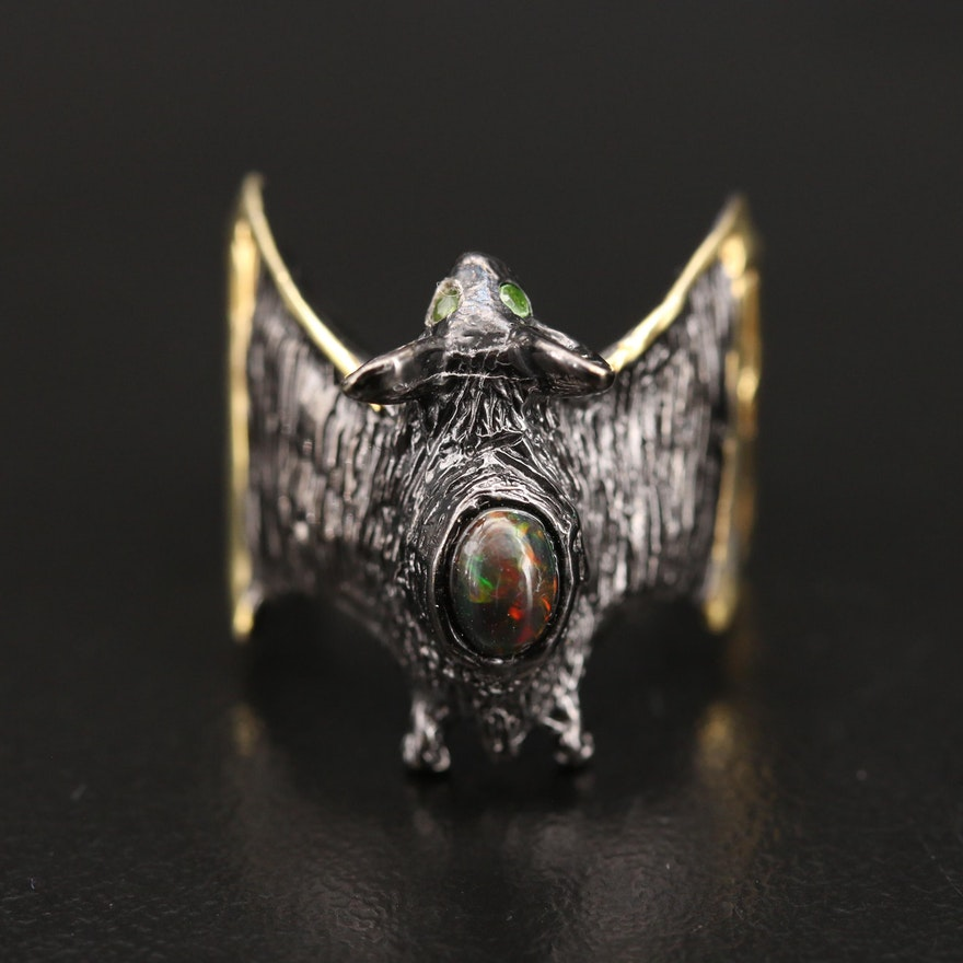 Sterling Opal Bat Ring