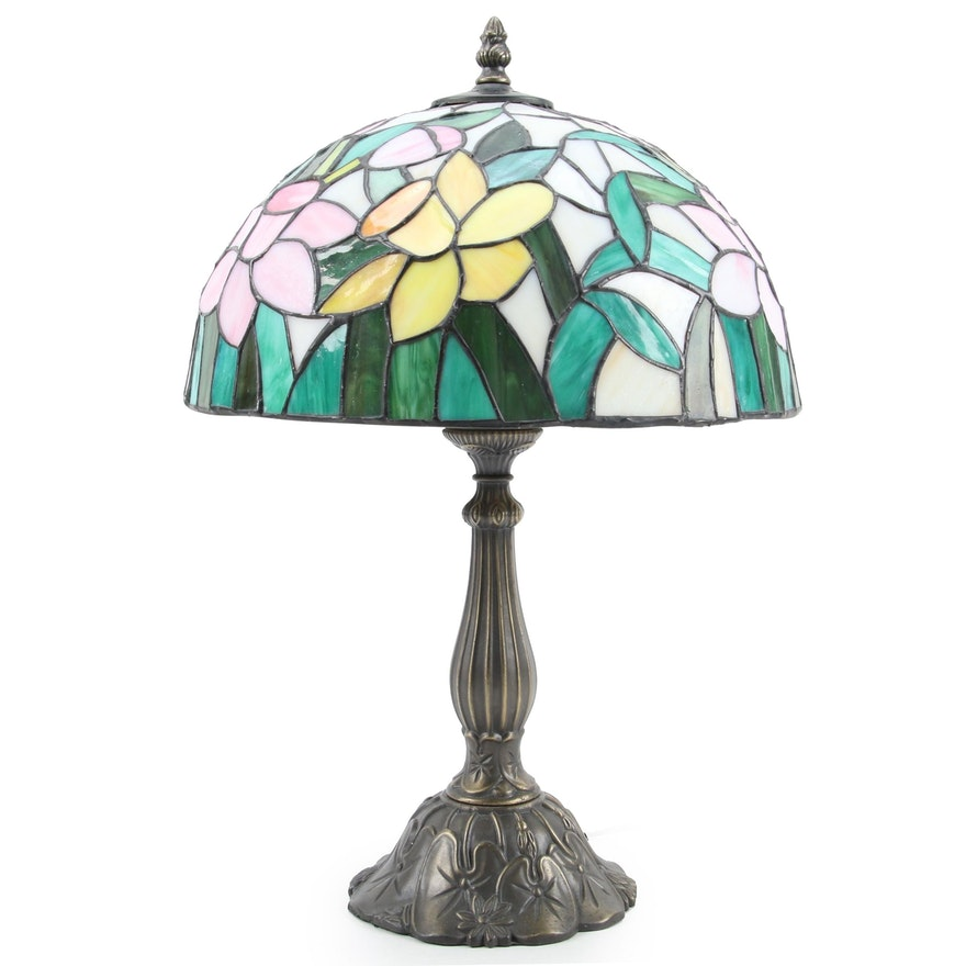 Colored Slag Glass Daffodils Design Table Lamp with Patinated Metal Base