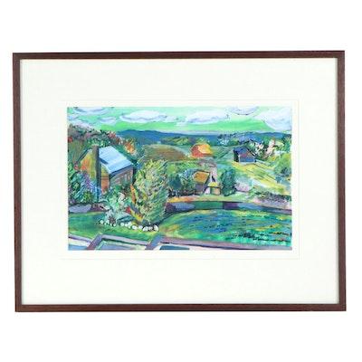 Landscape Watercolor Painting of a Village, 1986