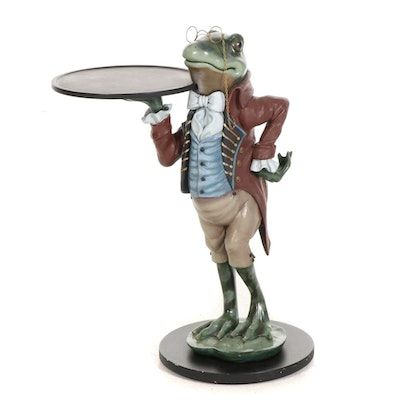 Bombay Company Painted Ceramic Frog Butler with Serving Tray Side Table