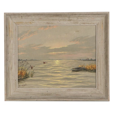 Oil Painting of Lake Scene with Ducks in Flight
