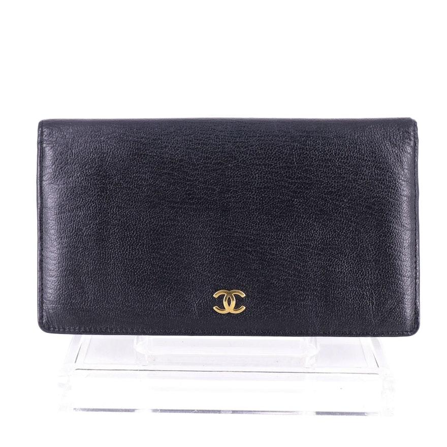 Chanel Long Continental Wallet in Black Goatskin Leather