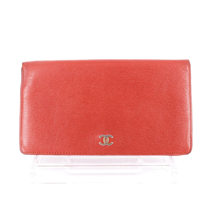 Chanel Long Continental Wallet in Red Goatskin Leather