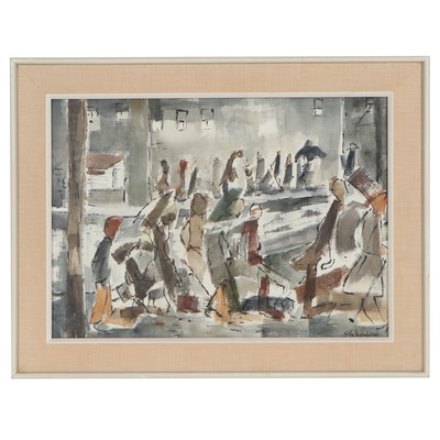 Abstract Watercolor Painting of Street Scene, Late 20th Century