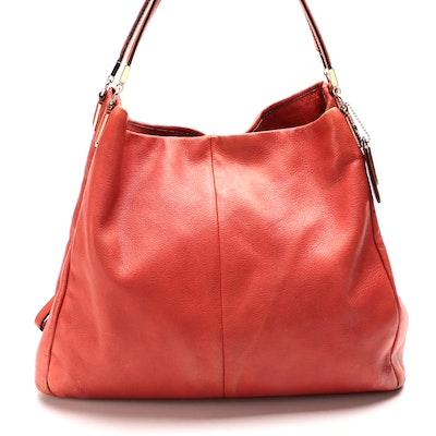 Coach Madison Phoebe Shoulder Bag in Faded Red Pebble Grain Leather