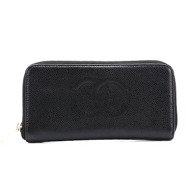 Chanel Timeless CC Zip Around Wallet in Black Caviar Leather