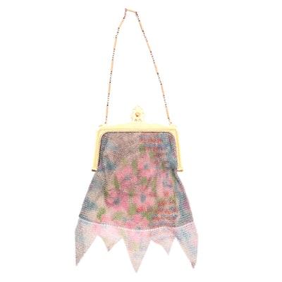 Whiting & Davis Painted Floral Mesh Frame Bag