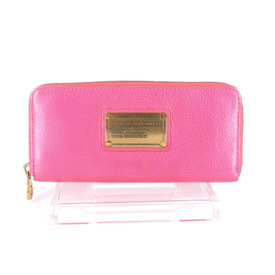 Marc by Marc Jacobs Hot Pink Leather Zip Wallet