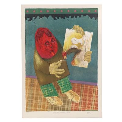 "Haim Kern Embossed Color Lithograph ""Bonne Nuit Madame Ingres"""