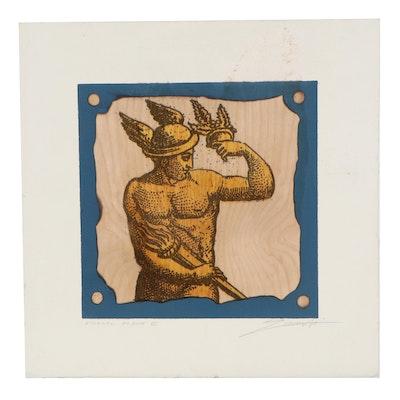 "Relief Print on Wood Sheet ""Eternal Flame III,"" Late 20th Century"