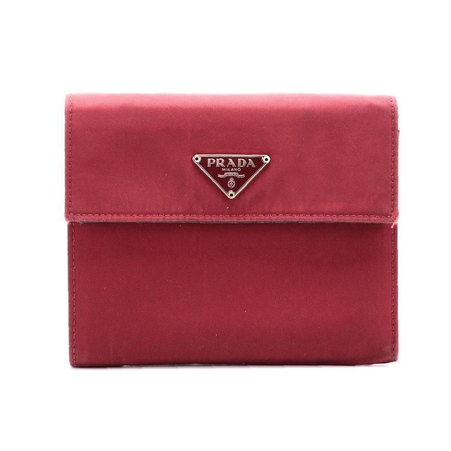 Prada Cerise Tessuto Nylon Vela Flap Wallet with Saffiano Leather