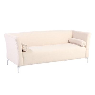 "Sandy Wilson ""Camilla"" Contemporary Sky Neutral Upholstered Sofa,"