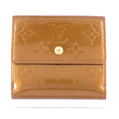 Louis Vuitton Elise Wallet in Bronze Monogram Vernis Leather