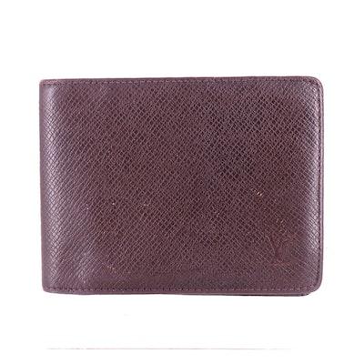 Louis Vuitton Porte-Billets 3 Volets Wallet in Bordeaux Taïga Leather