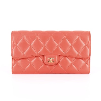 Chanel CC Long Flap Wallet in Quilted Fuchsia Lambskin Leather