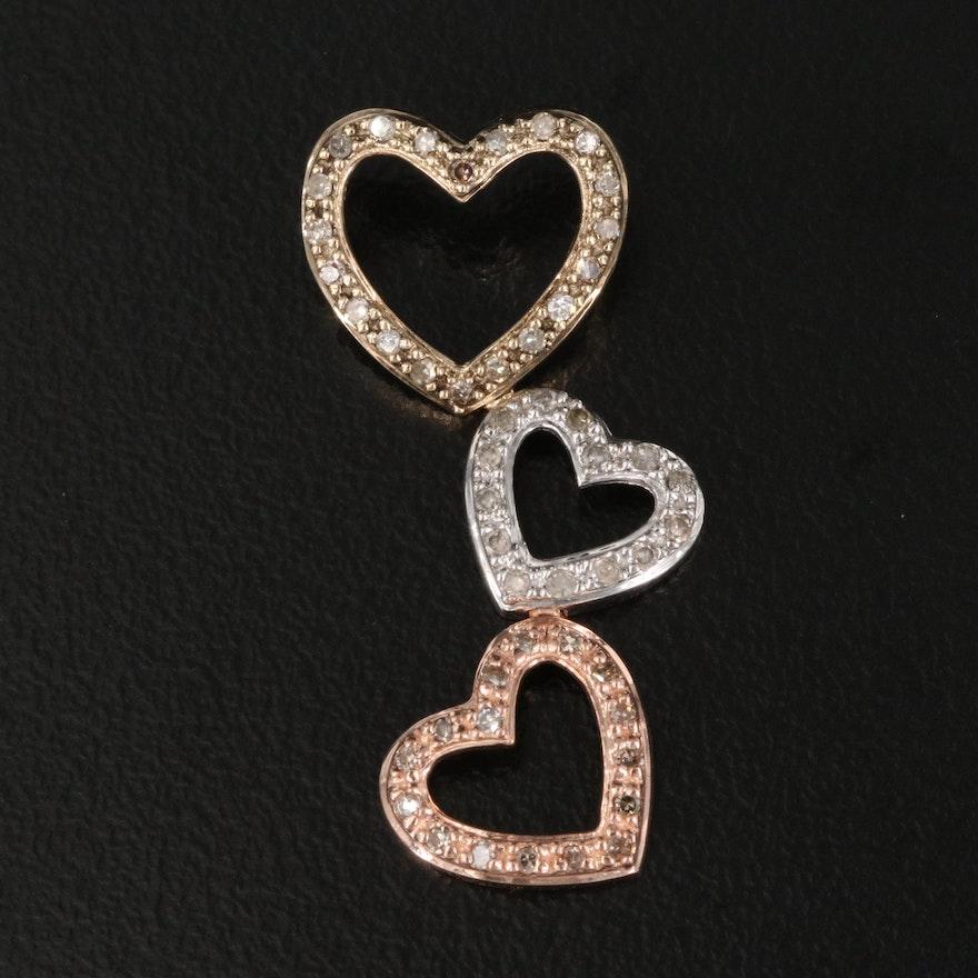 10K Tri-Color Gold Diamond Heart Drop Pendant