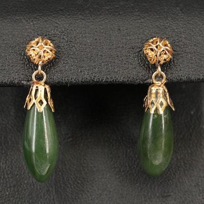 14K Nephrite Drop Earrings