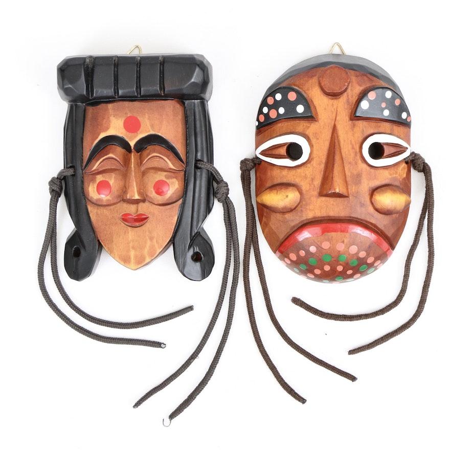Koren Hahoe Wood Mask and Bongsan Talchum Style Mask, Late 20th Century