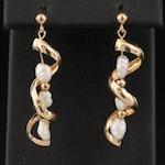 14K Pearl Twist Style Dangle Earrings