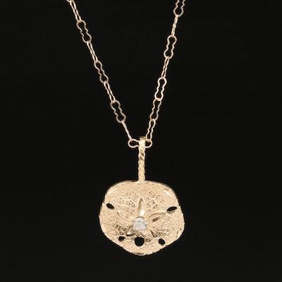 14K Diamond Sand Dollar Pendant Necklace