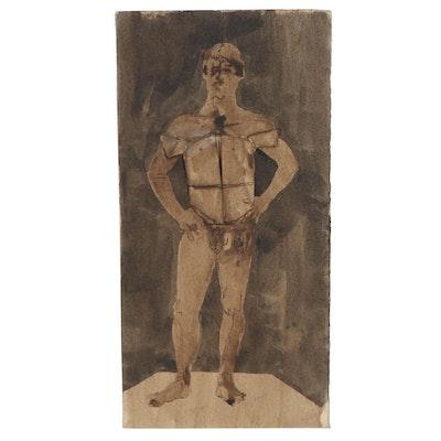 John Tuska Mixed Media Painting of Male Nude in Armor, Late 20th Century