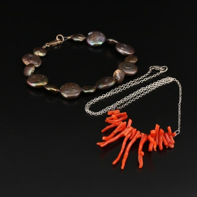 Pearl Bracelet and Sterling Coral Necklace
