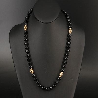 14K Black Onyx Endless Necklace