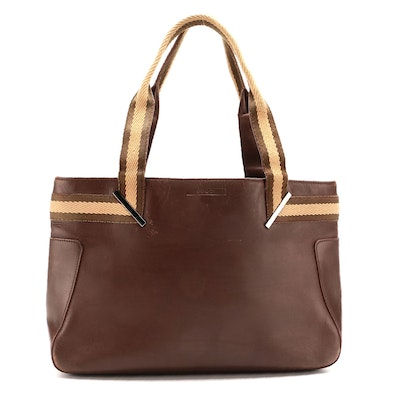 Gucci Web Handle Tote in Brown Smooth Leather
