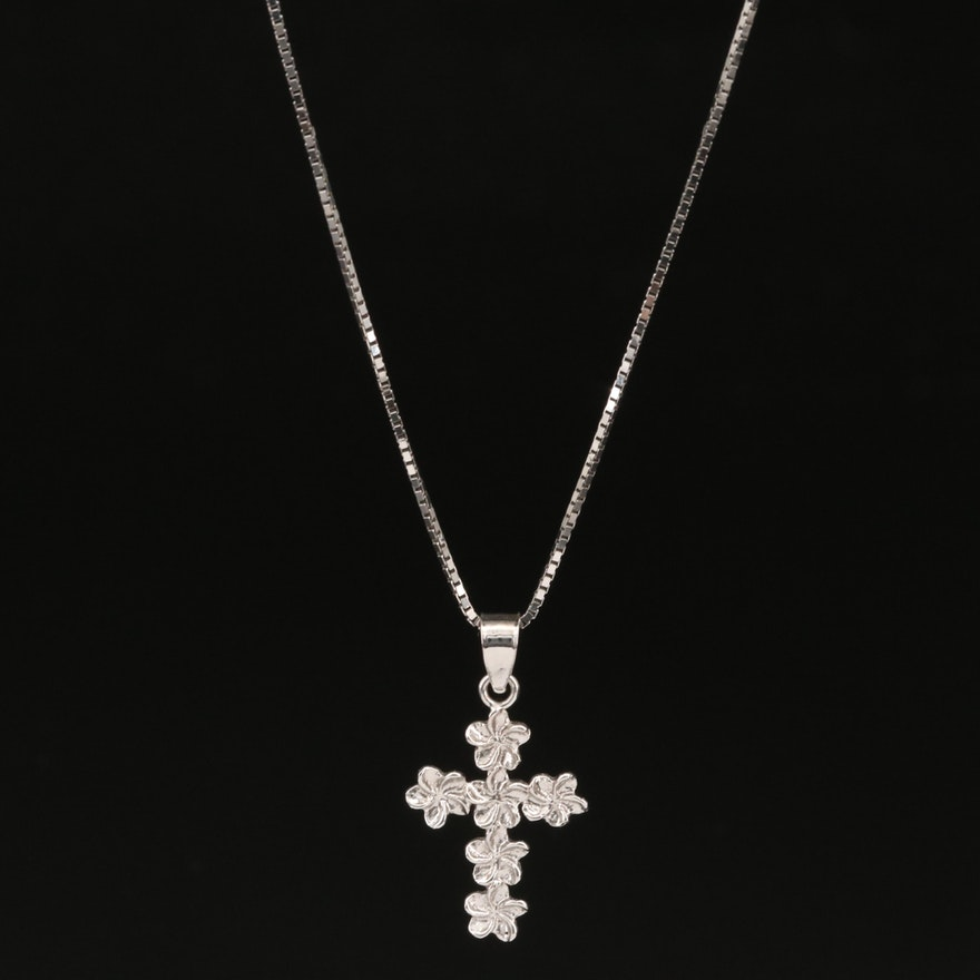 14K Plumeria Cross Necklace