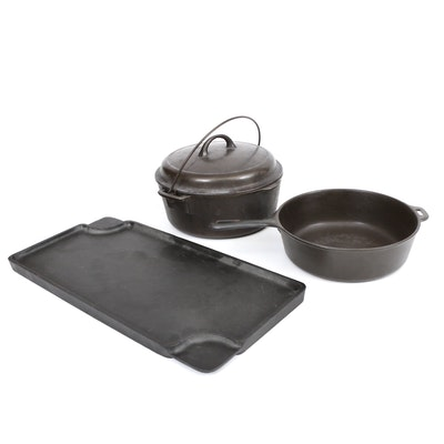 """Wagner Ware Cast Iron Pot with Other 10.5"""" Chicken Fryer and Griddle"""