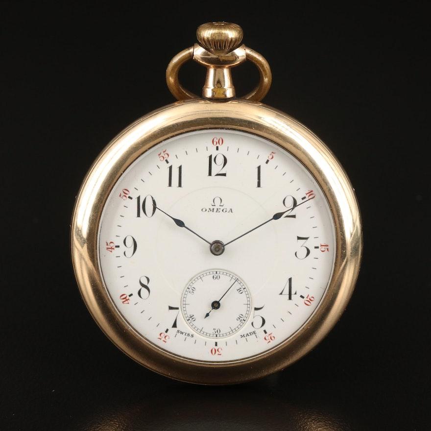 Vintage Omega Open Face Gold-Filled Pocket Watch