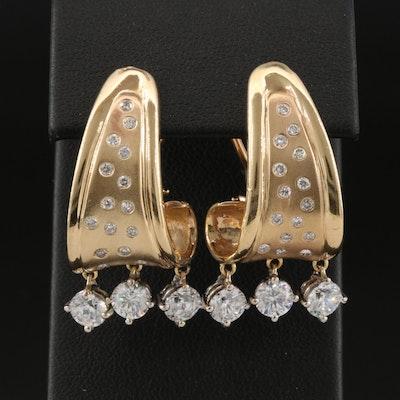 14K Diamond and Cubic Zirconia J-Hoop Earrings