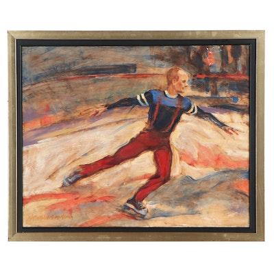 """Kathleen McKenna Oil Painting """"Ice Rhythms, Study of Scott Hamilton"""""""