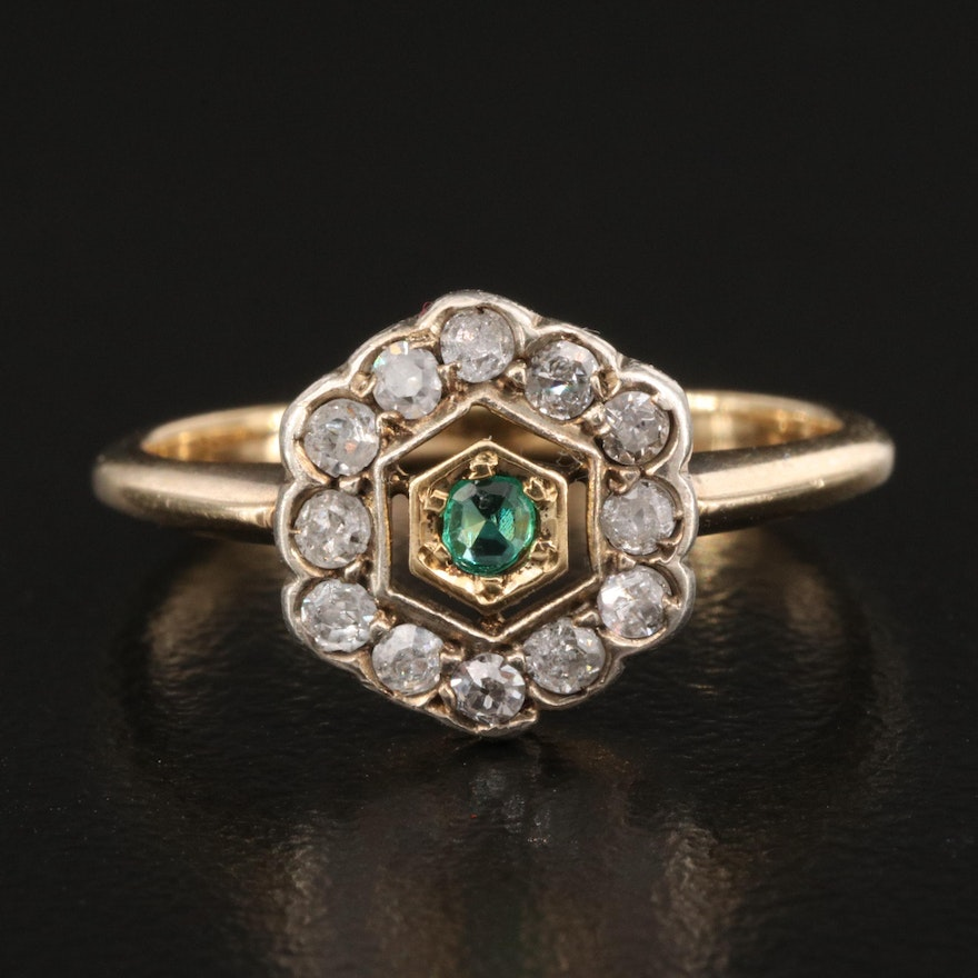 Art Deco 14K Emerald and Diamond Ring with Sterling Accent