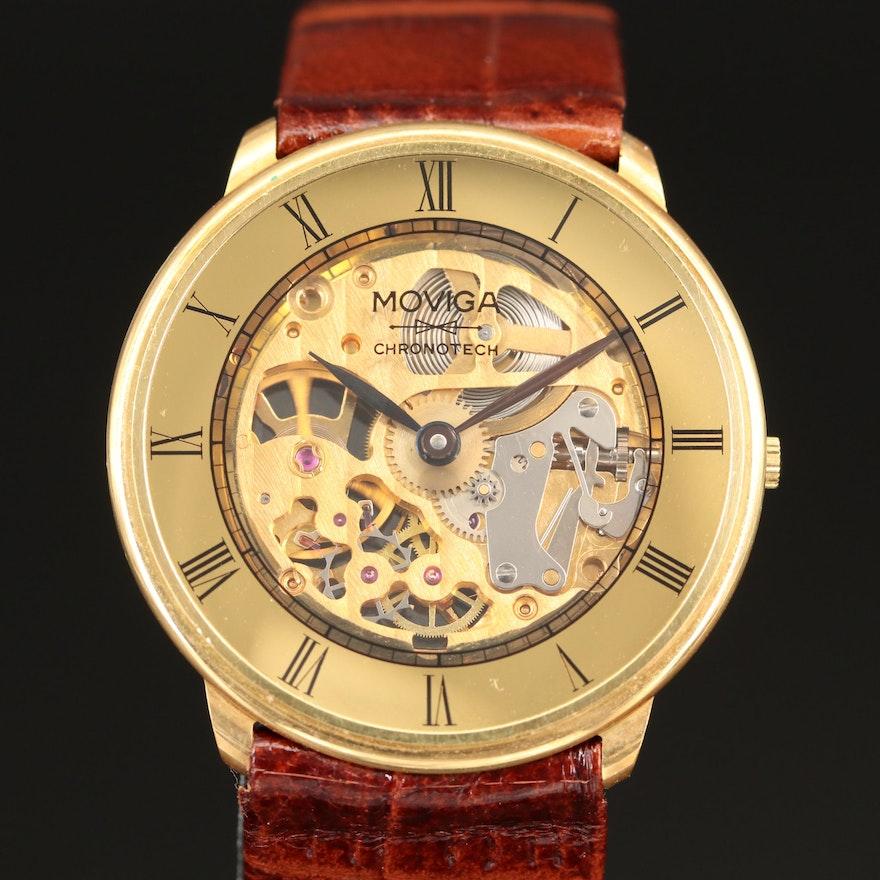 18K Gold Moviga Chronotech Skeleton Dial Stem Wind Wristwatch