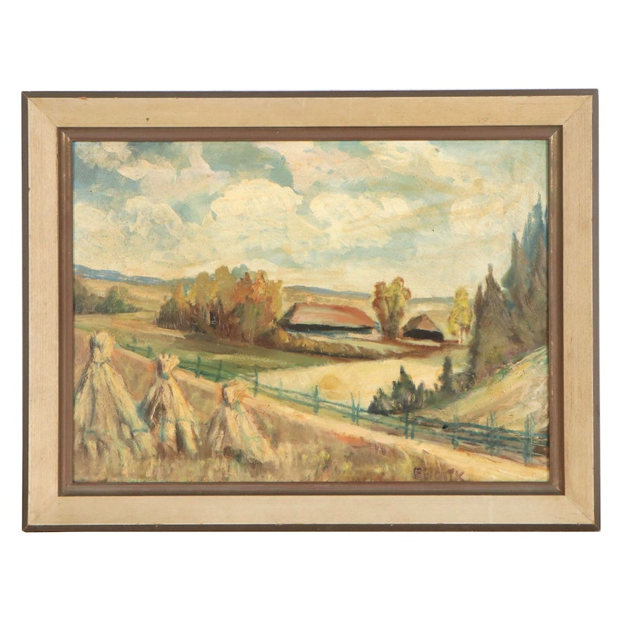 Evald Woitk Landscape Oil Painting with Hay Bales, Mid-20th Century