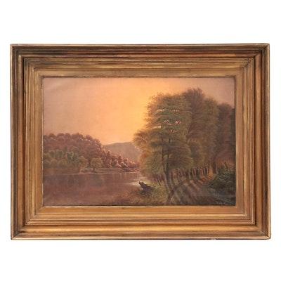 M. J. Smith Oil Painting of Romantic Landscape, 1879
