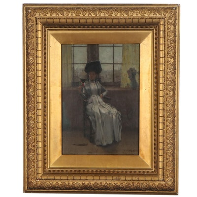 Oil Painting of Seated Woman, Late 19th Century
